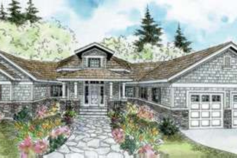 Ranch Style House Plan - 3 Beds 2.5 Baths 2827 Sq/Ft Plan #124-578 Exterior - Front Elevation
