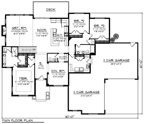 Ranch Floor Plan - Main Floor Plan Plan #70-1274