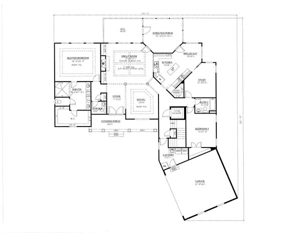Ranch Floor Plan - Main Floor Plan Plan #437-90