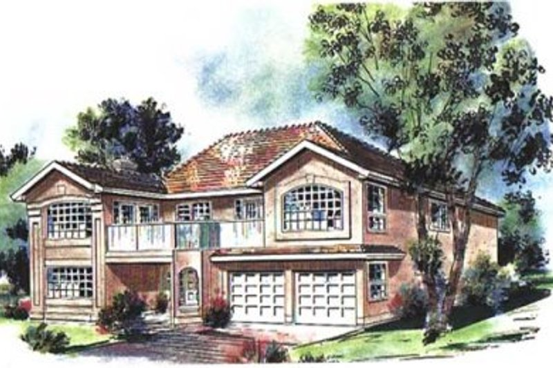 European Style House Plan - 3 Beds 2 Baths 2168 Sq/Ft Plan #18-9162 Exterior - Front Elevation