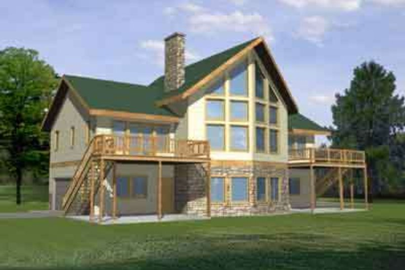 Contemporary Style House Plan - 4 Beds 3 Baths 3369 Sq/Ft Plan #117-269 Exterior - Front Elevation