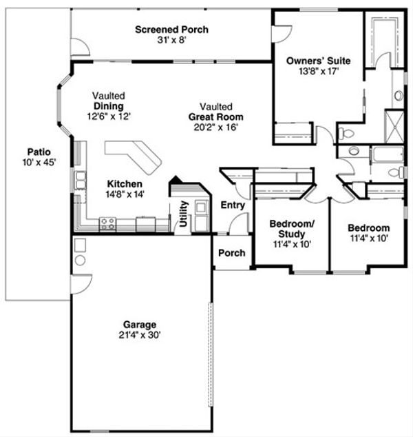 Traditional Floor Plan - Main Floor Plan Plan #124-734