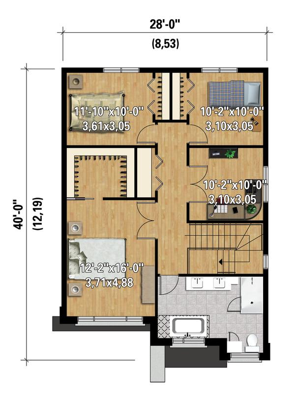 Contemporary Floor Plan - Upper Floor Plan Plan #25-4320