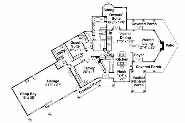 Craftsman Floor Plan - Main Floor Plan Plan #124-761