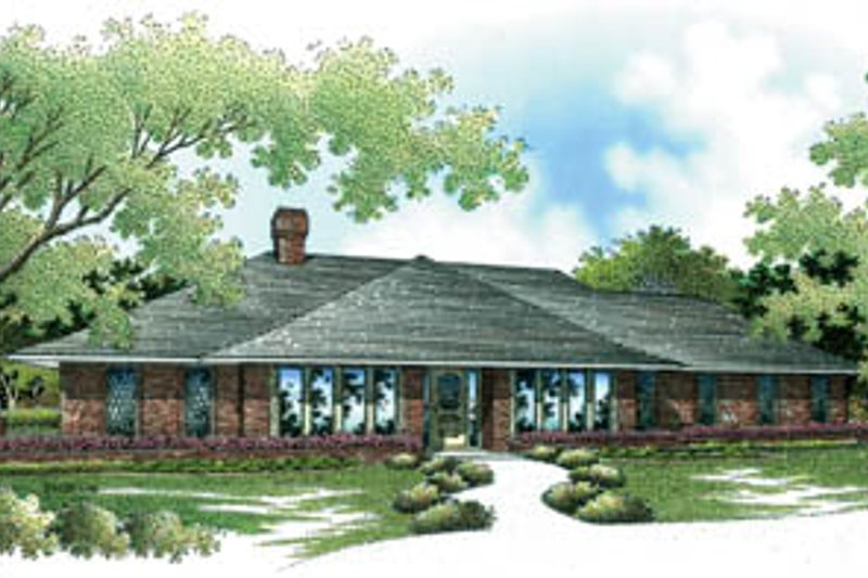 Traditional Style House Plan - 4 Beds 4 Baths 2564 Sq/Ft Plan #45-150 Exterior - Front Elevation