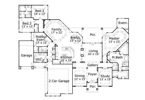 Mediterranean Floor Plan - Main Floor Plan #411-224
