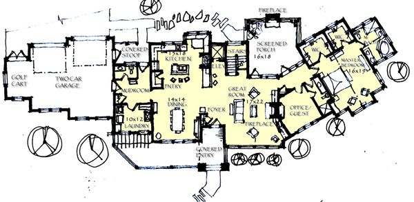 Craftsman Floor Plan - Main Floor Plan Plan #921-1