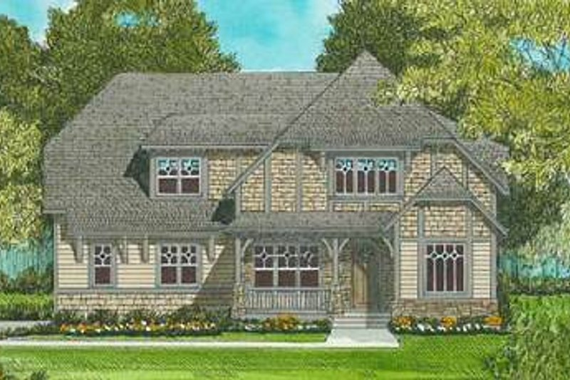 Tudor Exterior - Front Elevation Plan #413-139