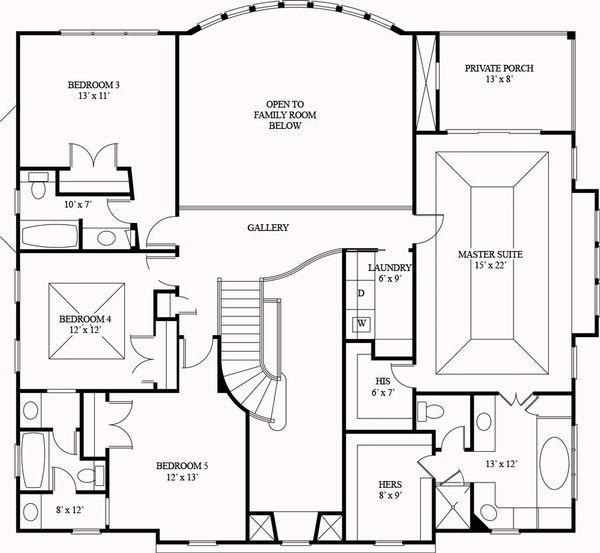 European Floor Plan - Upper Floor Plan Plan #119-341