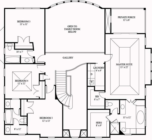 European Floor Plan - Upper Floor Plan Plan #119-341
