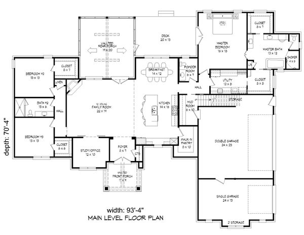 Country Floor Plan - Main Floor Plan Plan #932-125