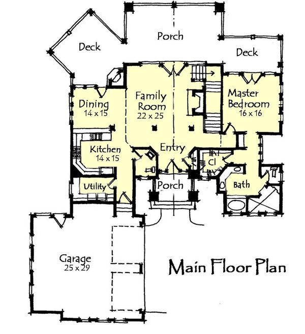 Craftsman Floor Plan - Main Floor Plan Plan #921-17
