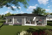 Ranch Style House Plan - 3 Beds 2.5 Baths 2264 Sq/Ft Plan #70-1423 Exterior - Rear Elevation
