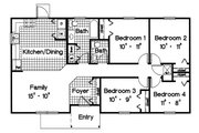 Ranch Style House Plan - 4 Beds 1.5 Baths 1118 Sq/Ft Plan #417-109 Floor Plan - Main Floor Plan