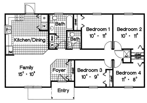 Ranch Floor Plan - Main Floor Plan Plan #417-109