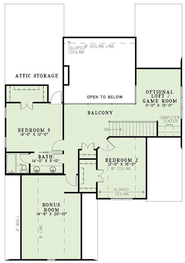 Tudor Floor Plan - Upper Floor Plan Plan #17-2494