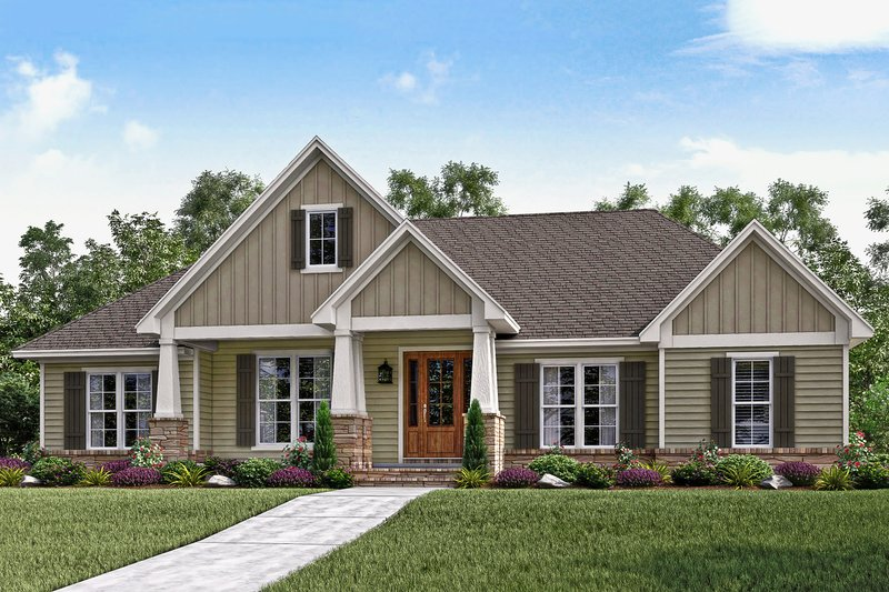 Craftsman Style House Plan - 3 Beds 2.5 Baths 2151 Sq/Ft Plan #430-141 Exterior - Front Elevation