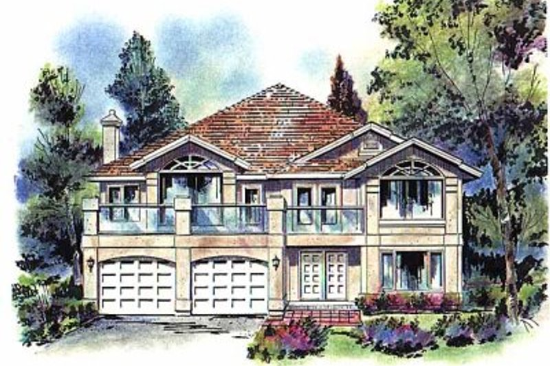 House Blueprint - European Exterior - Front Elevation Plan #18-146