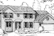 Colonial Exterior - Front Elevation Plan #20-703