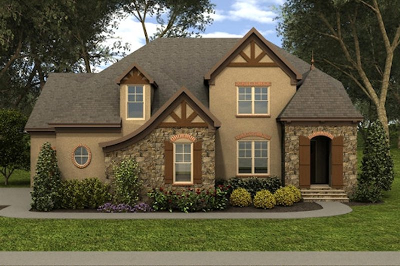 Home Plan - Tudor Exterior - Front Elevation Plan #413-888