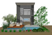 Contemporary Style House Plan - 3 Beds 3 Baths 1505 Sq/Ft Plan #484-14 Exterior - Rear Elevation