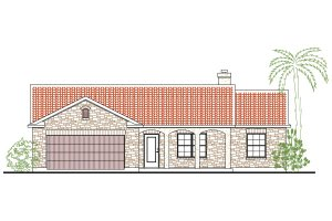 Home Plan - Mediterranean Exterior - Front Elevation Plan #80-135