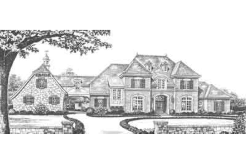 European Style House Plan - 5 Beds 6 Baths 5310 Sq/Ft Plan #310-348 Exterior - Front Elevation