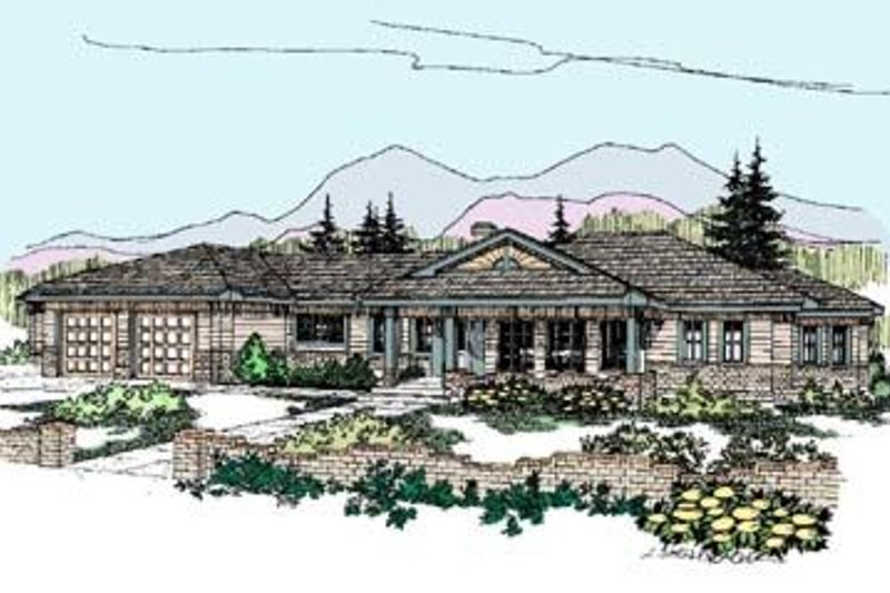 Ranch Style House Plan - 4 Beds 3 Baths 2300 Sq/Ft Plan #60-273 Exterior - Front Elevation