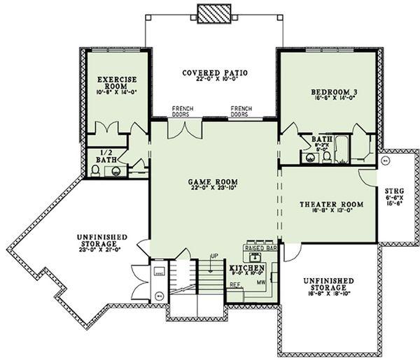 European Floor Plan - Lower Floor Plan Plan #17-2554