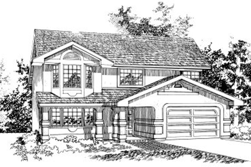 Traditional Style House Plan - 3 Beds 2 Baths 1202 Sq/Ft Plan #47-579 Exterior - Front Elevation