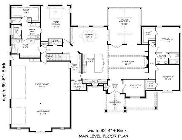 Country Floor Plan - Main Floor Plan Plan #932-314