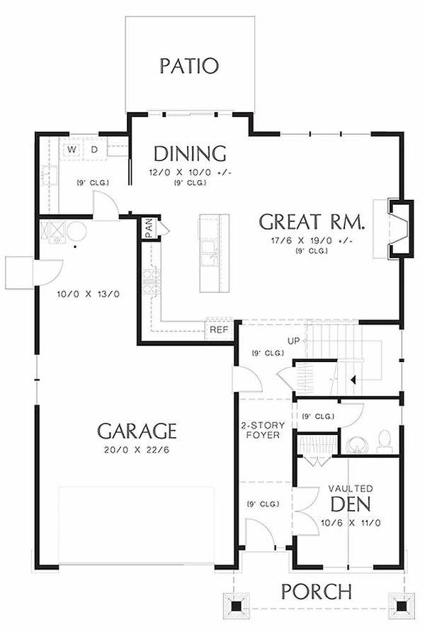 Craftsman Floor Plan - Main Floor Plan Plan #48-458