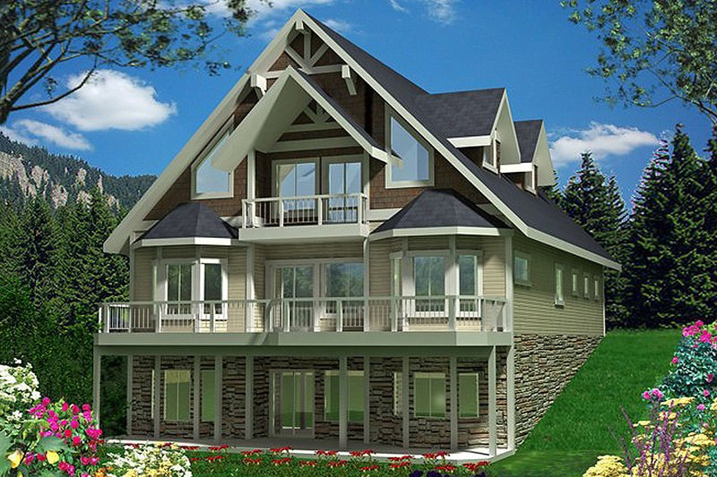 Country Style House Plan - 3 Beds 3 Baths 3618 Sq/Ft Plan #117-808 Exterior - Front Elevation