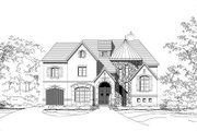 European Style House Plan - 5 Beds 5.5 Baths 6438 Sq/Ft Plan #411-664 Exterior - Front Elevation