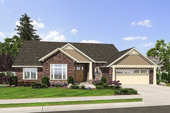 Craftsman Exterior - Front Elevation Plan #46-511