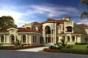 Mediterranean Style House Plan - 7 Beds 8 Baths 10591 Sq/Ft Plan #420-250 Exterior - Front Elevation