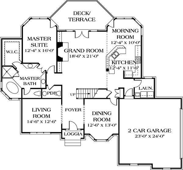 Traditional Floor Plan - Main Floor Plan Plan #453-32