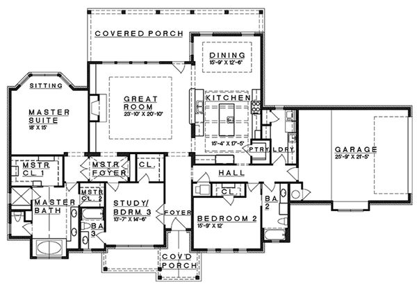 Craftsman Floor Plan - Main Floor Plan Plan #935-10