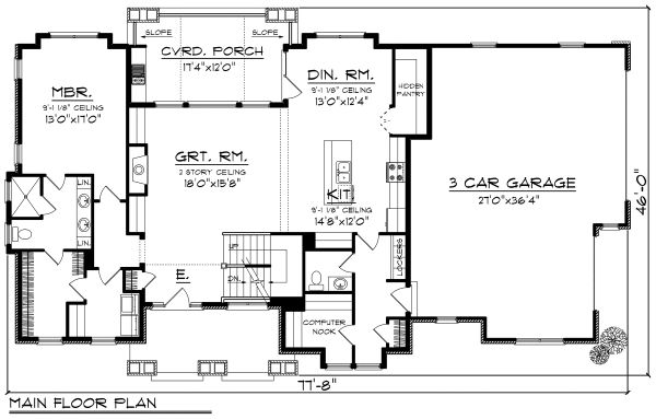 Cottage Floor Plan - Main Floor Plan Plan #70-1180