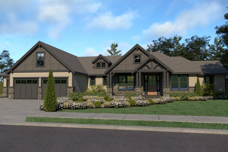 Architectural House Design - Craftsman Exterior - Front Elevation Plan #1070-38