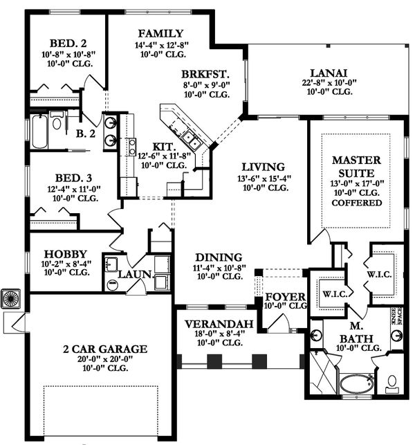 Ranch Floor Plan - Main Floor Plan Plan #1058-160