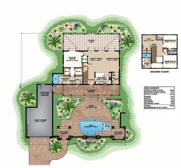 Beach Floor Plan - Main Floor Plan Plan #27-497