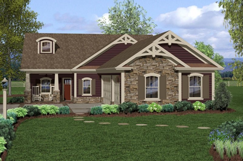 Craftsman Exterior - Front Elevation Plan #56-698