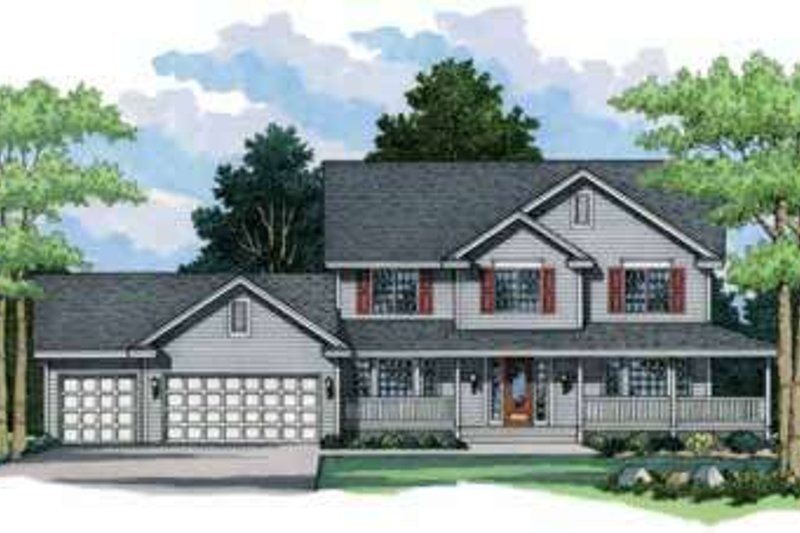 Country Exterior - Front Elevation Plan #51-218