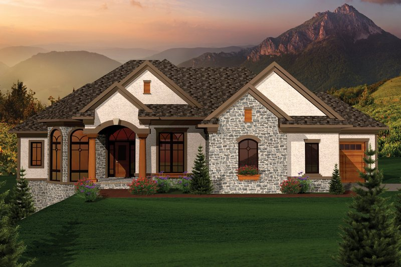 Home Plan - Ranch Exterior - Front Elevation Plan #70-1067