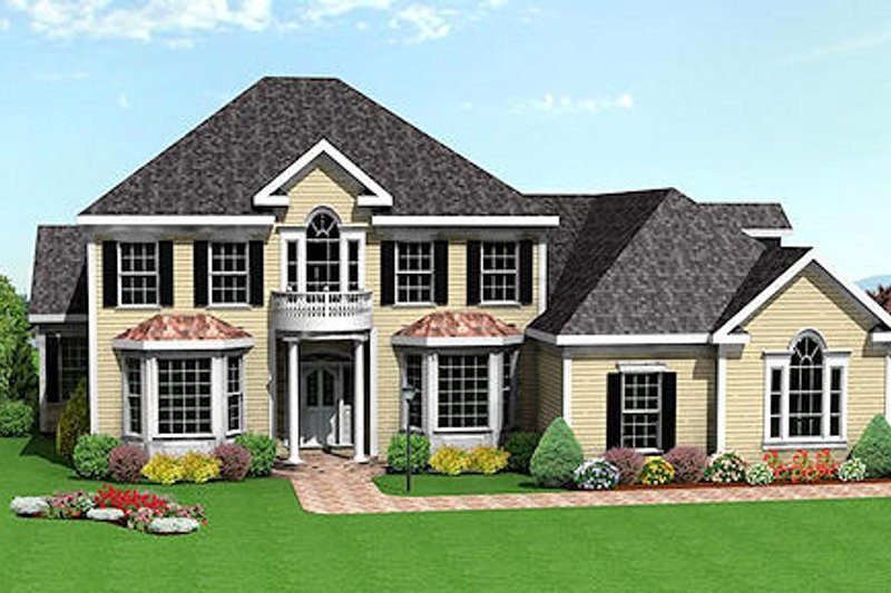 Traditional Style House Plan - 5 Beds 4 Baths 3547 Sq/Ft Plan #75-106 Exterior - Front Elevation