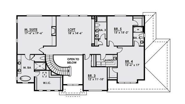 Craftsman Floor Plan - Upper Floor Plan Plan #1066-20