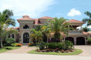 Mediterranean Style House Plan - 4 Beds 5 Baths 6922 Sq/Ft Plan #27-539 Exterior - Front Elevation