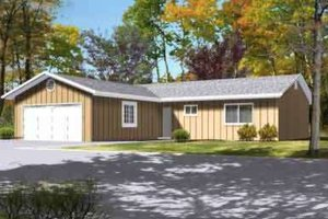 Ranch Exterior - Front Elevation Plan #1-1207