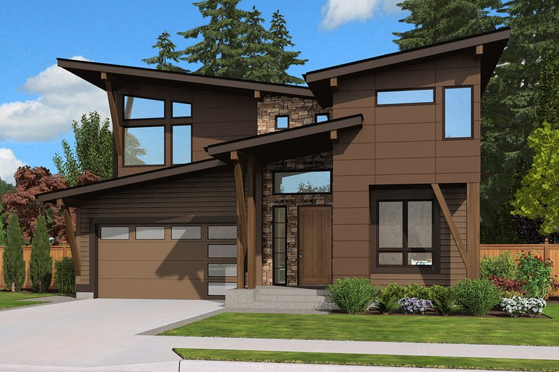 Contemporary Style House Plan - 4 Beds 3 Baths 3110 Sq/Ft Plan #132-227 Exterior - Front Elevation